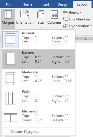 تنظیمات صفحه در word