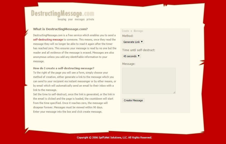 حذف پیام پس از خوانده شدن با DestructingMessage