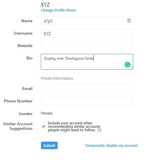 تغییر فونت اینستاگرام برای بیوگرافی ، کپشن و نظرات