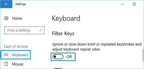 کلیدهای فیلتر را غیرفعال کنید