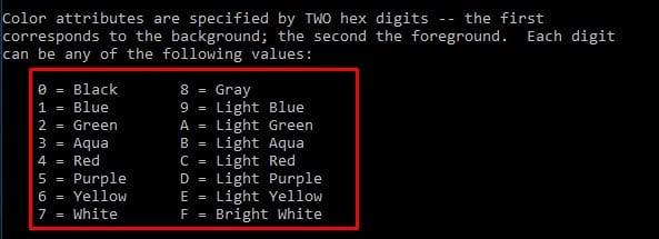 تغییر رنگ پس زمینه cmd در ویندوز