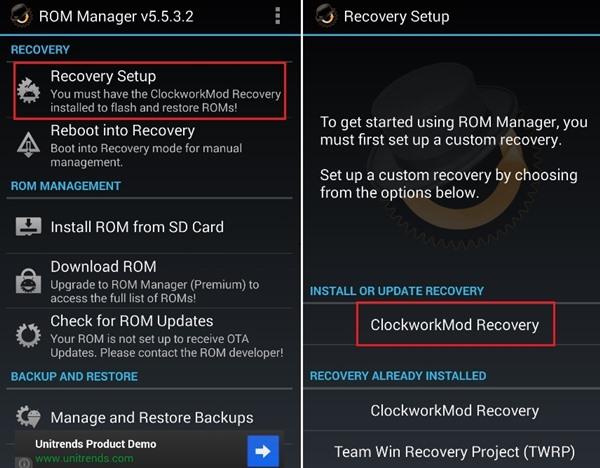 نصب بازیابی CWM با استفاده از ابزار ROM Manager