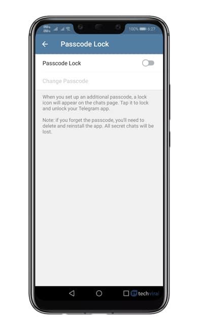 آموزش گذاشتن رمز برای تلگرام (Passcode Lock)