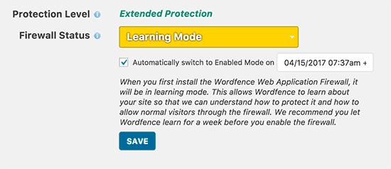تنظیم فایروال Wordfence