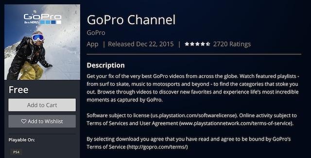 برنامه رایگان GoPro Channel برای سونی 4
