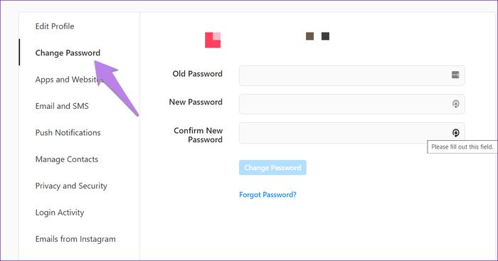 تغییر رمز عبور اینستاگرام