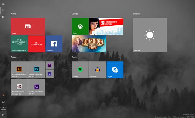 صفحه نمایش کامل منوی ویندوز 10
