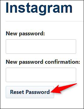 روی «Reset Password» کلیک کنید