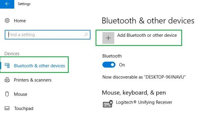 """روی دکمه """"Add Bluetooth or other device"""" کلیک کنید"""