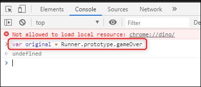 دستور اول برای هک کردن بازی Chrome