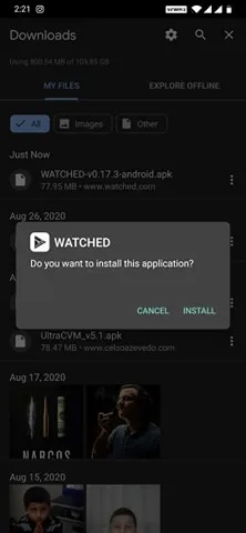 برنامه Watched را در Android خود دانلود و نصب کنید