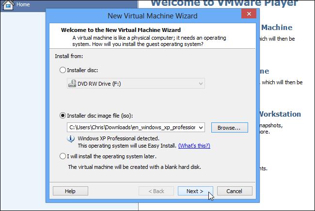 تنظیم ویندوز XP با VMware Player