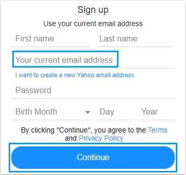 با استفاده از آدرس ایمیل فعلی ، حساب Yahoo ایجاد کنید