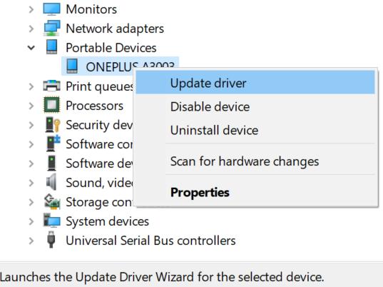 درایورهای USB MTP را بر روی رایانه خود به روز کنید