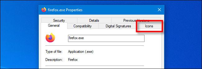 """در پنجره EXE Properties در ویندوز 10 ، روی برگه ویژه """"Icon"""" IconViewer کلیک کنید."""