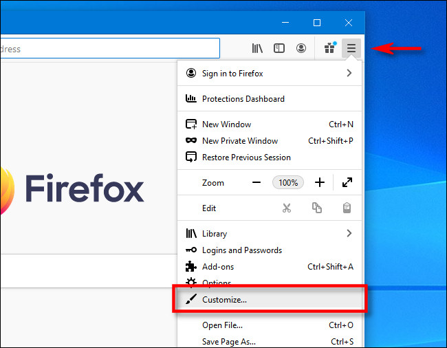 """روی منوی همبرگر در Firefox کلیک کنید و سپس روی """"Customize"""" کلیک کنید."""