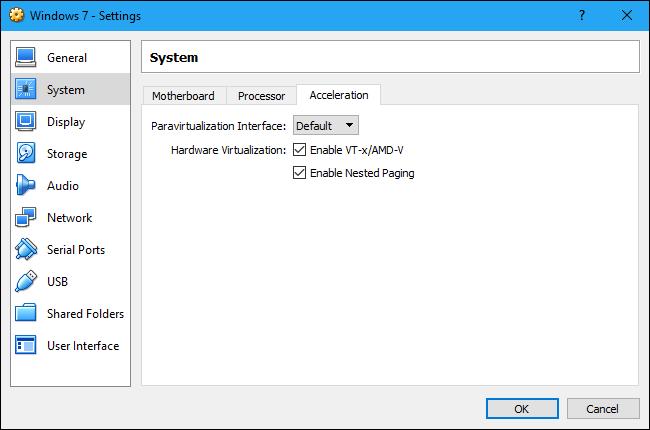 اطمینان حاصل کنید که Intel VT-x یا AMD-V فعال است