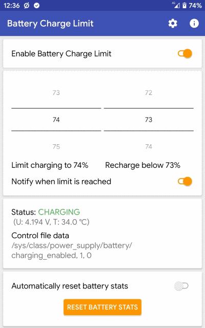 برنامه Battery Charge Limit [ROOT]
