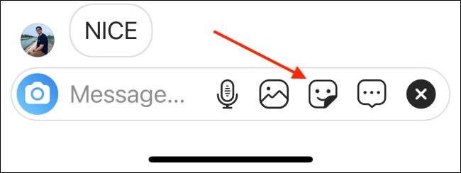 روی نماد GIF ضربه بزنید