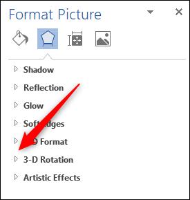 روی پیکان کنار «3D-Rotation» کلیک کنید