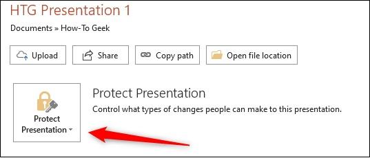 روی Protect Presentation کلیک کنید