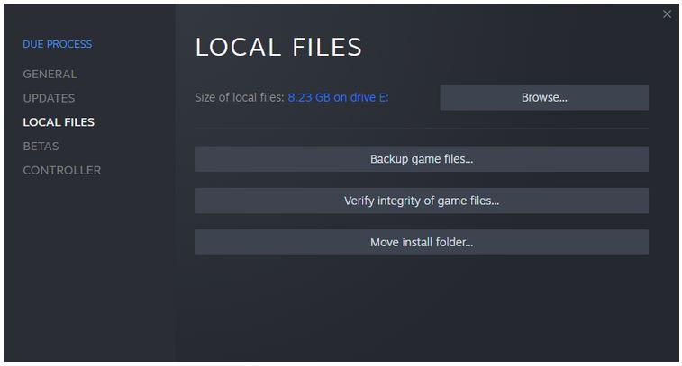 دکمه تأیید Steam Local Files