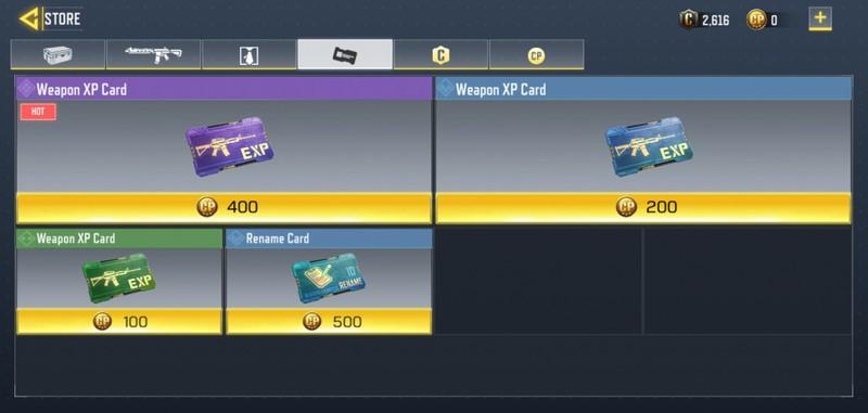 خرید کارتهای Weapon XP