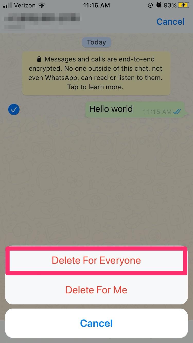 گزینه حذف پیام برای هر دوطرف
