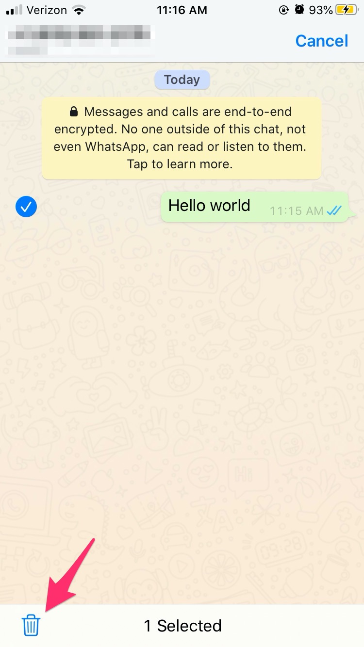 حذف دو طرفه پیام واتس اپ